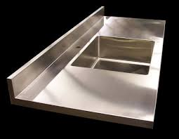 8 stainless steel counter with custom stainless steel sink integral backsplash brushed 4 finish