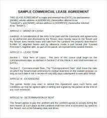 10+ Sample Commercial Lease Agreements | Sample Templates