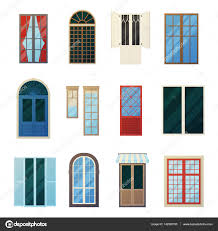 Sprossen Bars Fenster Platten Icons Set Stockvektor Macrovector