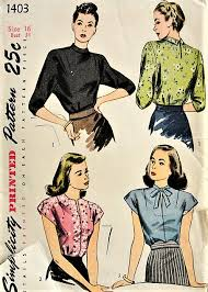 Simplicity Blouse Patterns Beauteous 48s CLASSIC Vintage Blouses In Three Styles Simplicity 48 Bust