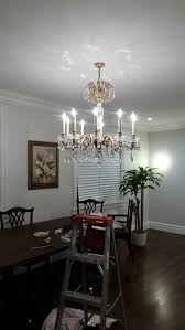 chandelier size for dining room. Also, Is The Chandelier Dressed Correctly? All Bottom Crystals Had Another 2 Or 3 Pcs Of Chain Before Large Crystal But We Shortened It Because Size For Dining Room I