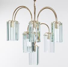 waterfall beveled glass and brass chandelier for at 1stdibs beveled glass chandelier