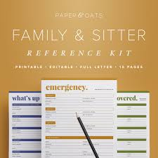 babysitter family babysitter reference kit editable emergency contact medical info babysitting home management binder household pdf printables