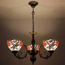 3 light dragonfly and colorful flower pattern chandelier with yellow glass shade in stained glass