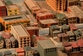 essay home heart of former bunker hill residential life 3rd st between olive and grand viewed from northwest looking southeast detail of 1940 model of the city of
