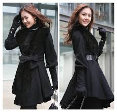 black color women long wool coat 2016 collection