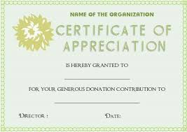 Donation Certificate Template Awesome Certificate Of Appreciation For Donation Template Donation