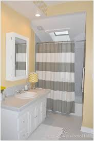 Gray And Pale Yellow Bathroom