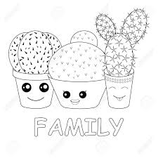 Array coloring with cacti coloring page hilarious family of cacti on rh 123rf