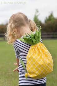 diy pineapple drawstring backback so fun for all ages via make