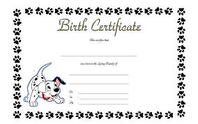 Dog Birth Certificates Printable Pet Birth Certificate Templates The