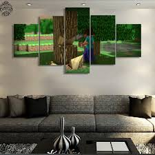5 pieces canvas painting minecraft game pictures home decor canvas printed poster wall art decoration painting on house wall art painting with 5 pieces canvas painting minecraft game pictures home decor canvas