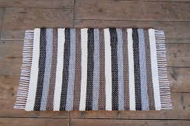 vermont rug farm wool rug brown gray white stripes