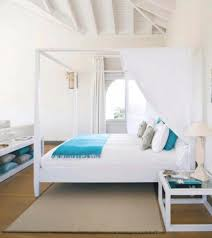 interior design ideas bedroom blue. Beachy Themed Attic Master Bedroom Design With Sloping Ceiling Paintd White Interior Color Decoration Plus Wooden Bed Frame Canopy And Blue Ideas I