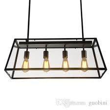 loft pendant lamp retro american industrial black iron rectangular chandelier living room dining room office light fixture blown glass pendant lights