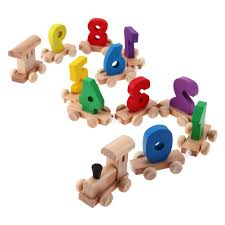children wooden digital small train 0 9 number railway model wood kids toy