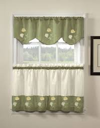 Green Rose Kitchen Curtains And Valances (Image 5 of 12)