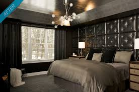 ... Bachelor Pad Bedroom with Tufted Headboards and Drawers Bedside and  Pendant Lamp ...