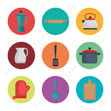 Colorful Kitchen Utensils Icon Set Over White Background Royalty