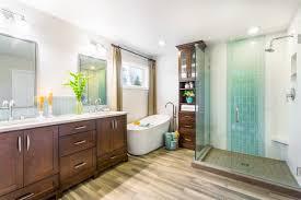spa like master bathroom boasts glass enclosed shower