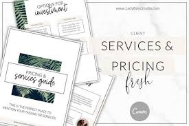 Pricing Templates For Services Fresh Pricing And Services Guide Templates For Canva