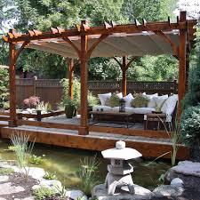 12 ft x 20 ft cedar breeze pergola with canopy for outdoor decor idea