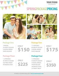 Photography Pricing Template Free Photography Template Spring Package Pricing For Photographers