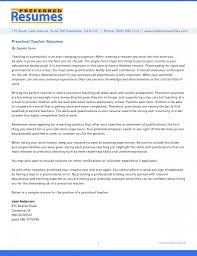 Preschool Teacher Resume Samples Free Cover Letter Example
