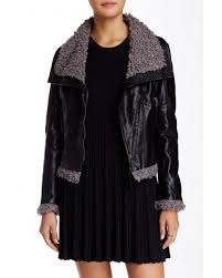 sisters faux leather jacket with faux fur trim jow100