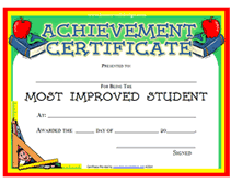 Free Award Certificate Templates For Students Printable Most Improved Student Awards Certificates Templates
