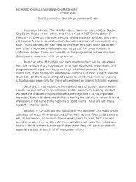 one student one sport argumentative essay kagura