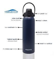 com aquatix flip top double wall insulated stainless steel sports water bottle midnight blue 32 ounce kitchen dining
