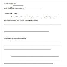 Argumentative Essay Outline Worksheet Writings And Essays Corner