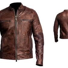 arrow mens biker vintage motorcycle distressed brown cafe racer leather jacket yiyiyc