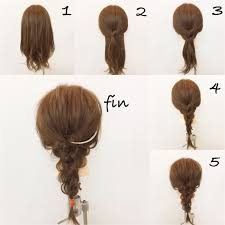 1軽く巻きます 2サイドの髪同士を結びます蝶々結びの最初の結び方