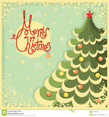 Christmas Card Images Free Vintage Christmas Card With Tree And Text Stock Vector