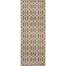 washable modern fretwork rich tan 2 5 ft x 7 ft stain resistant runner rug