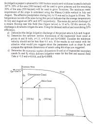 Irrigation Weir Design An Irrigation Project Is Planned For 1000 Hectare