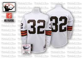 Cleveland Men's 32 Jim And Road Mitchell Jersey Authentic White Ness Throwback Browns Nfl Brown