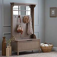 Hallway Storage Bench With Coat Rack Amazon Hall Storage Bench Gray Entryway Hall Tree Seat Coat 24