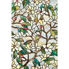 stained glass static cling window film in x in summer magnolia decorative  window film summer magnolia