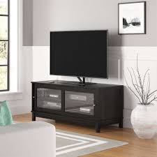mainstays 55 tv stand with sliding glass doors dark gray oak pertaining to black