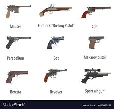 Design Pistol Firearm Set Guns Pistols Revolvers Flat Design