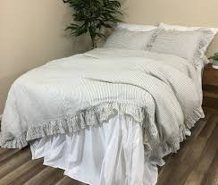 image of ruffled pinstripe duvet cover in grey and white natural linen regarding ticking stripe