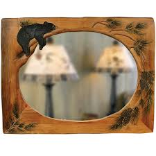 interior cool lazy bear carved wood mirror wooden wallame white fl 36x48ames hand carved wood