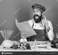 Concept De Cuisine Professionnelle Homme Avec Barbe Détient Livre De