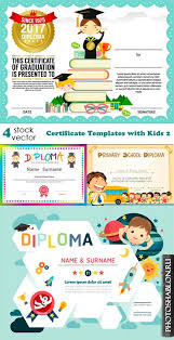 Грамоты дипломы благодарности сертификаты Скачать бесплатно  Векторные шаблоны сертификатов и дипломов для детей vectors certificate templates kids 2