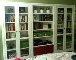 glass door bookshelf bookcase storage idea using cabinet antique oak glass door bookshelf