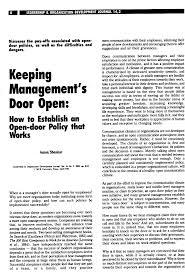 open door policy document. (PDF) Keeping Management\u0027s Door Open: How To Establish An Open-door Policy That Works Open Document