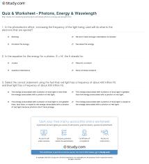 quiz worksheet photons energy wavelength study com